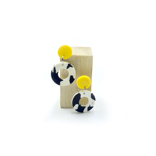 Delilah Earrings - yellow, black and white splashes