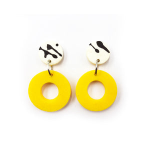Delilah Earrings - black and white splashes and yellow