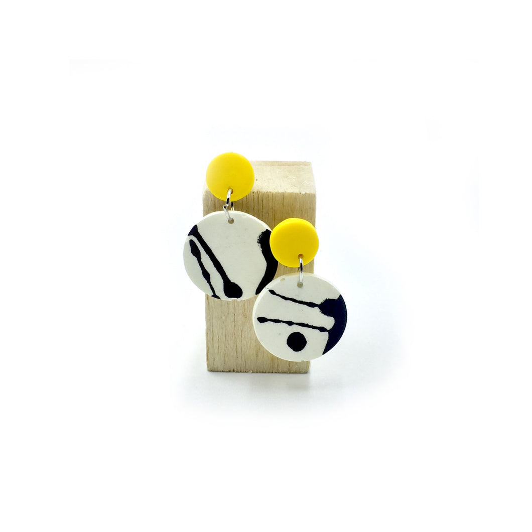 Denise Earrings - yellow, black and white splashes
