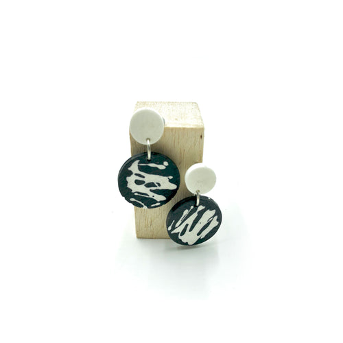Denise Earrings - white, black and white splashes
