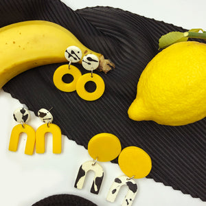 Dante Earrings - black and white splashes and yellow