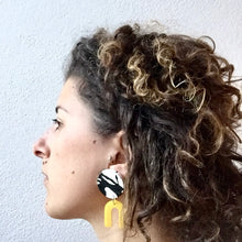 Daphne Earrings - black and white, and yellow