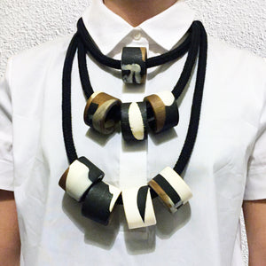 Clara 4 Necklace - Black, Bronze and White
