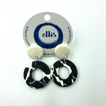 Delilah Earrings - white, black and white splashes