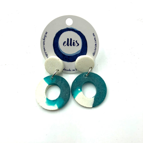 Delilah Earrings - turquoise and white