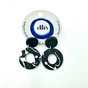 Delilah Earrings - black, black and white splashes