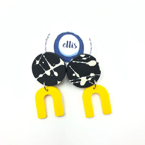 Daphne Earrings - black and white, with yellow