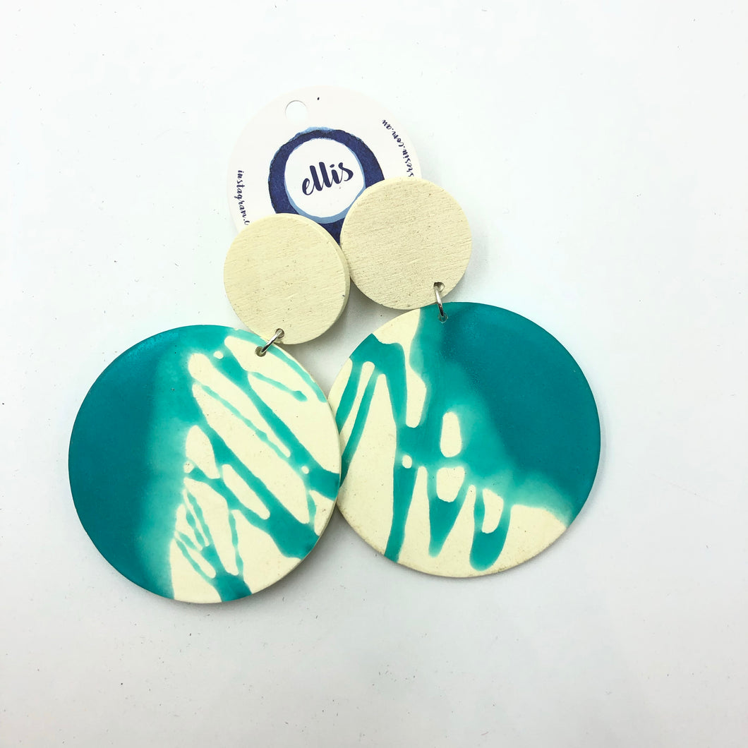 Clare 2 Earrings - turquoise and white splashes