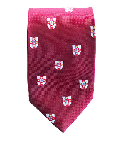 Crested Tie, Available in Burgundy and Black