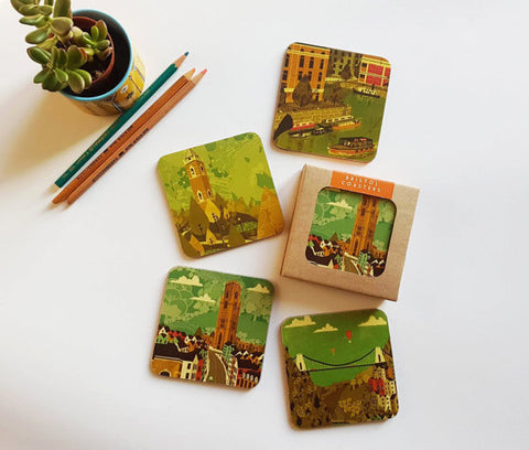 Emy Lou Holmes Bristol Coasters - (Red set of 4)