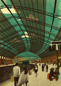 Emy Lou Holmes Greetings Card - Temple Meads Station