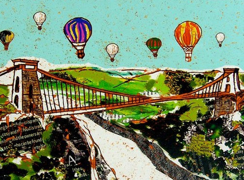 Emmeline Simpson Greetings Card - Balloons Over the Bridge