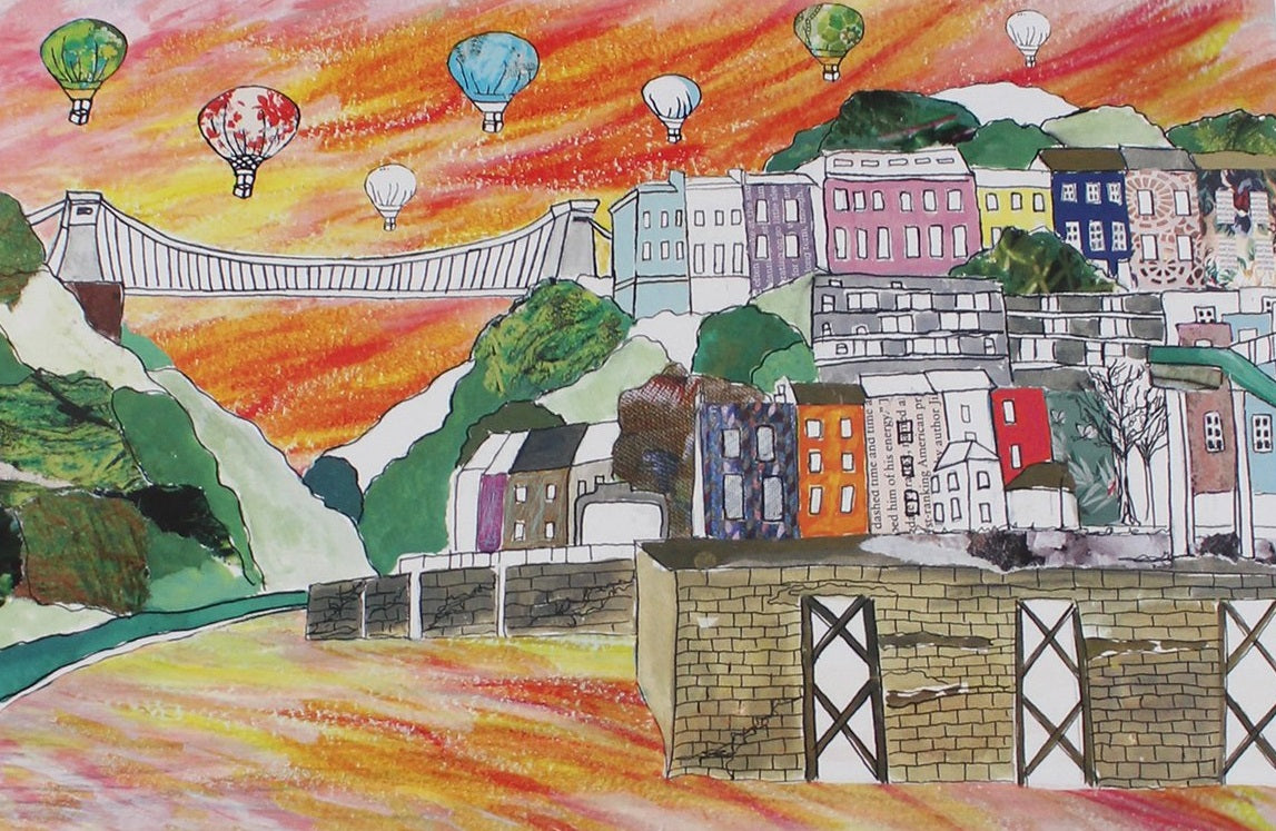 Emmeline Simpson Greetings Card - Clifton Balloons Sunset