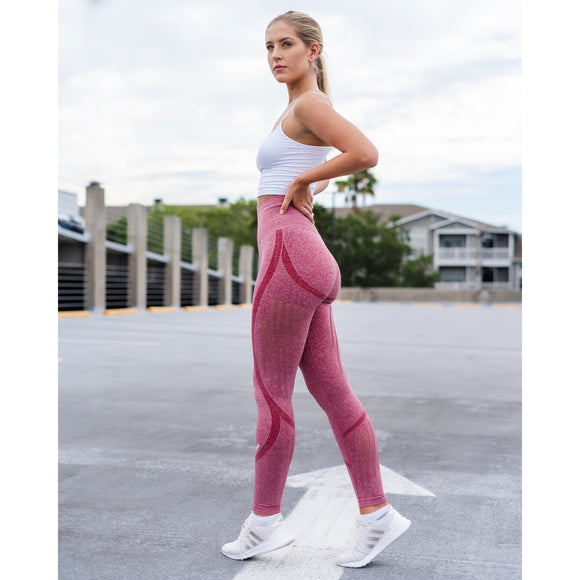 Seamless Flex Leggings -Pink - Emoni Fit