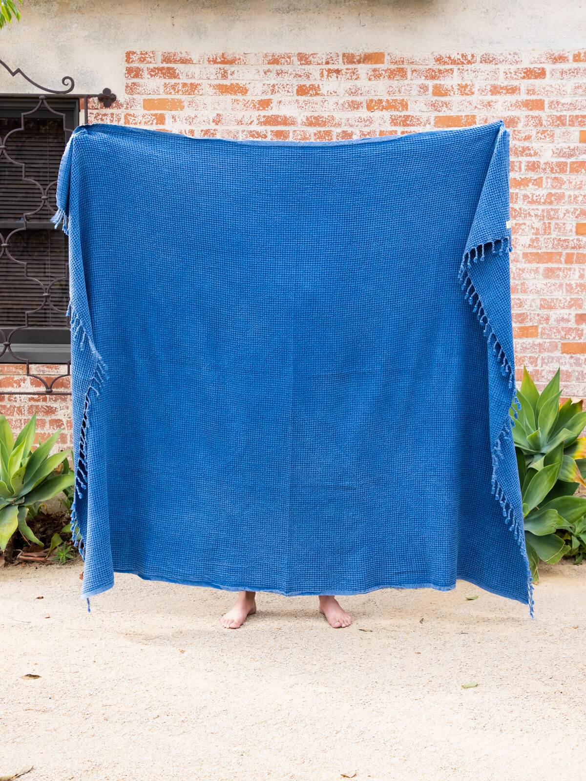 The Waffle Blanket in Blue