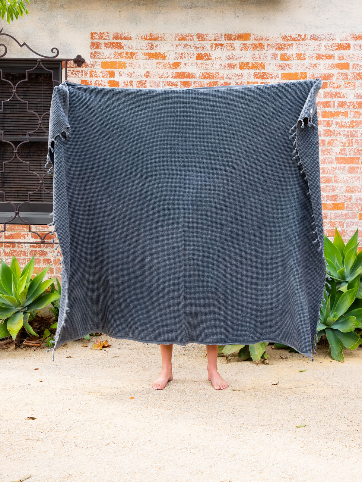 The Waffle Blanket in Charcoal