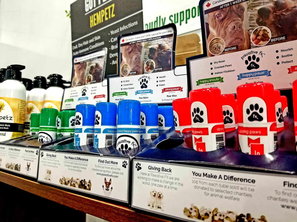 The Hemp Spot has Happy Paws, Happy Snouts and Strong Paws. An All Natural balm for your dogs paws and snouts! Canadian made with Canadian Hemp Oil. Canadian Hemp Dog Product.