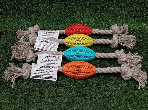 Hemp rope is naturally mold and mildew resistant, strong, fast growing and eco-friendly. It is free of herbicides and pesticides and biodegradable. Try these fun football Hemp Rope Dog Toys and you and your dog will not be disappointed!
