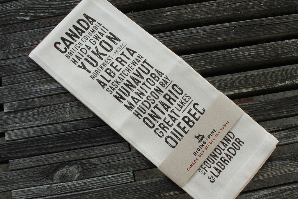 Canada Bus Scroll Tea Towel - The Hemp Spot