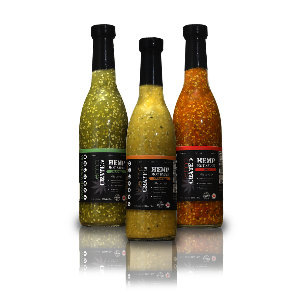 These hot sauces are out of this world! Come try these Canadian Hemp Hot Sauces which come in  three different flavors; Chili, Jalapeno and Habanero.