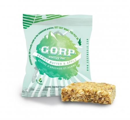 This GORP bar is flavored with Peanut Butter and Apple. Canadian Hemp Made. Canadian Hemp Products.