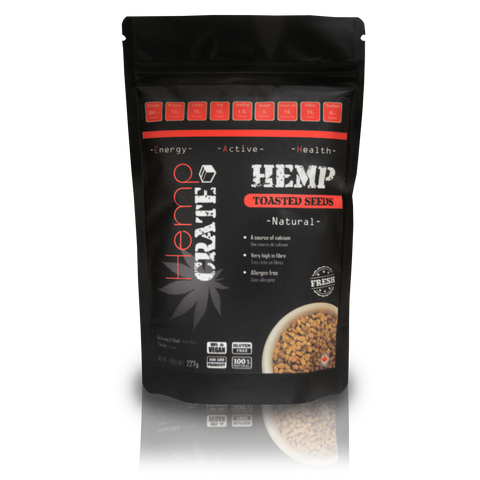 Toasted Hemp Seeds are a nutritious and crunchy snack, with a texture similar to corn nuts, and a toasted nutty flavour. They offer a significant value of daily fibre