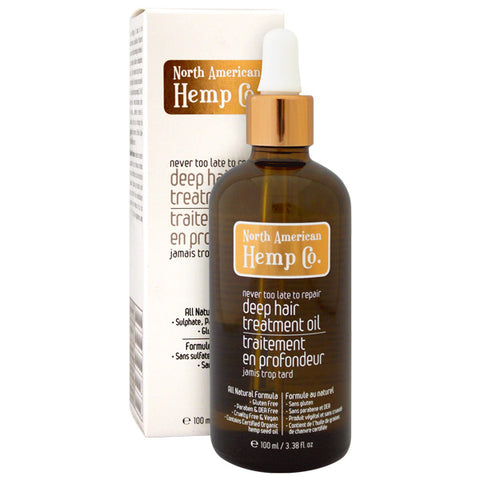 The Deep Hair Treatment Oil is this Omega 3, 6 & 9 fatty acid rich miracle in a bottle which seals split ends and smoothes over your hair's damaged cuticle with its hemp seed, Olive and Coconut oil blend. Canadian Hemp Beauty Product.