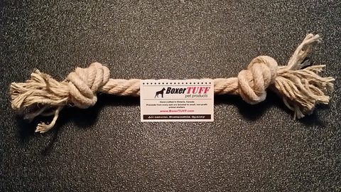 An All Natural Hemp Dog Rope Toy. Boxertuffs products are hand made from healthy, pesticide free, renewable natural hemp fiber.