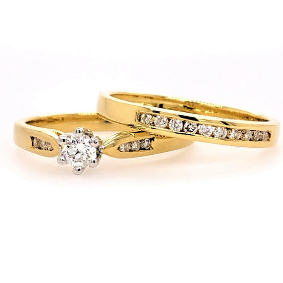 18ct Yellow Gold Diamond Ring Set