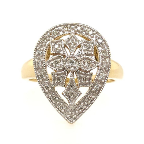 9ct Yellow Gold Diamond Set Pear Cluster Ring