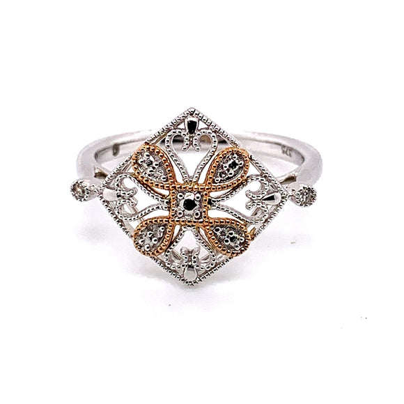 9Ct White and Rose Gold Diamond Set Art Deco Ring