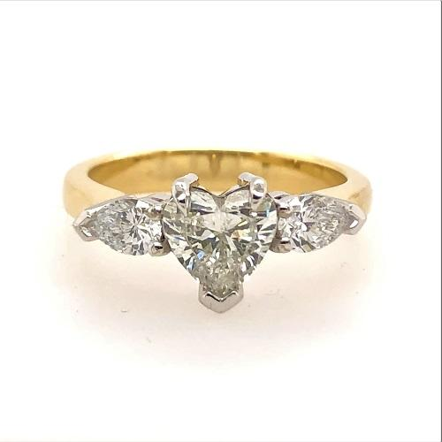 18Ct Gold Heart and Pear Cut Diamond Ring