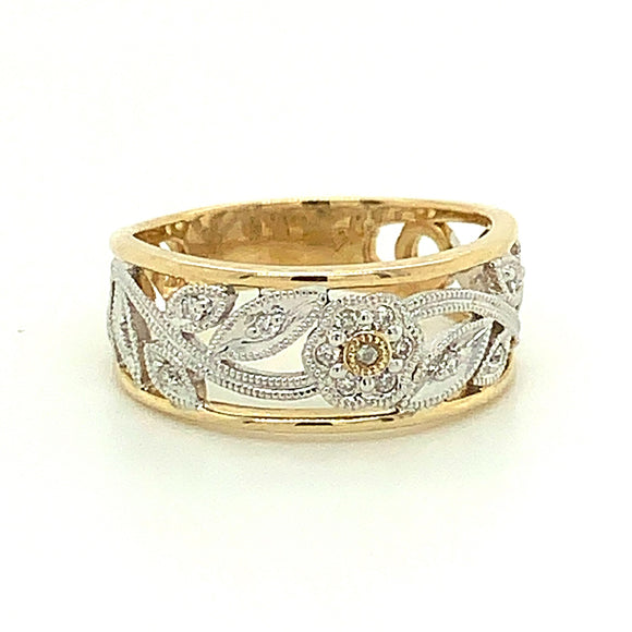 9Ct Gold Diamond Floral Ring