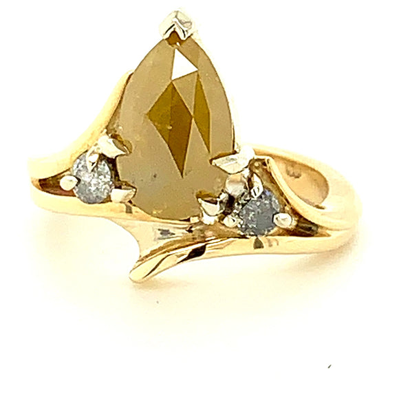 3.05Ct Pear Cut Salt And Pepper Diamond 2=.20Ct Salt And Pepper Diamonds 9Ct Gold