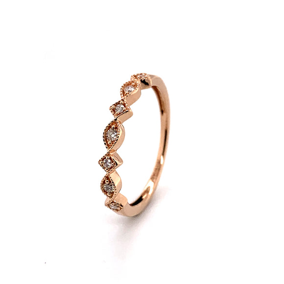 10ct Rose Gold Diamond Band Total Diamond Weight .10ct