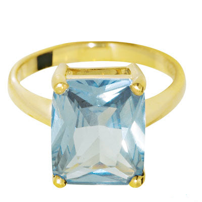 9ct Yellow Gold Aqua CZ Ring