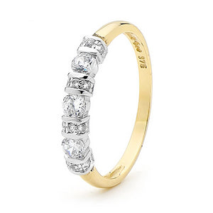 9ct Yellow Gold CZ Ring