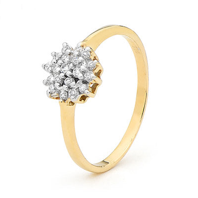 9ct Yellow Gold CZ Cluster