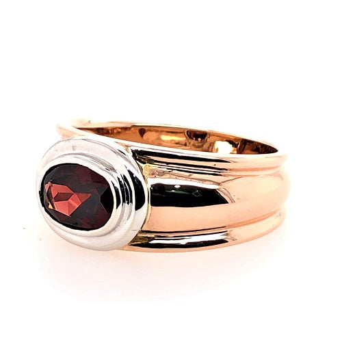 9Ct Rose Gold Garnet Slave Ring