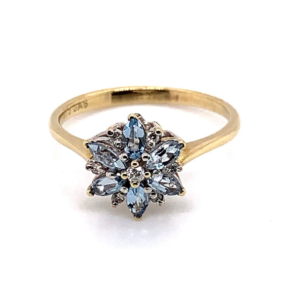 9ct Gold Natural Marquise Cut Aquamarines and Diamonds