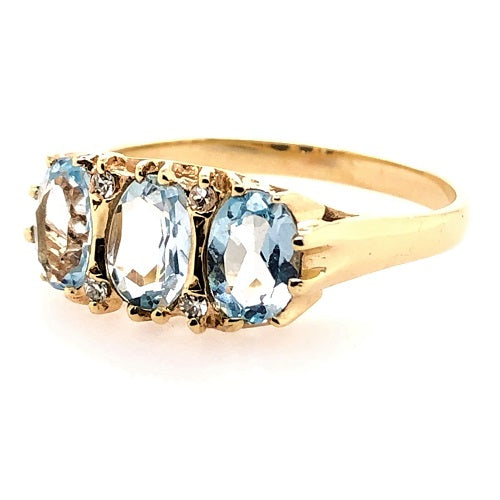 9ct Yellow Gold Topaz and Diamonds