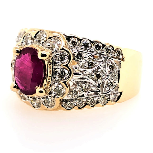 9ct Yellow Gold Natural Ruby and Diamond Ring