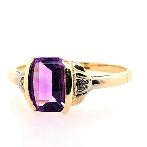 Natural Barrel Cut Amethyst with Diamonds in 9ct Gold
