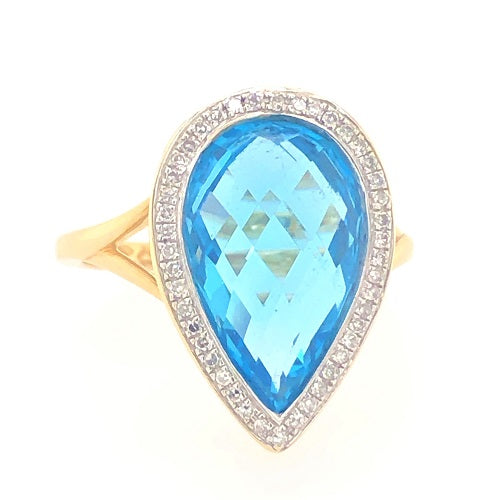 9ct Yellow Gold Pear Shape Topaz And Diamond Ring