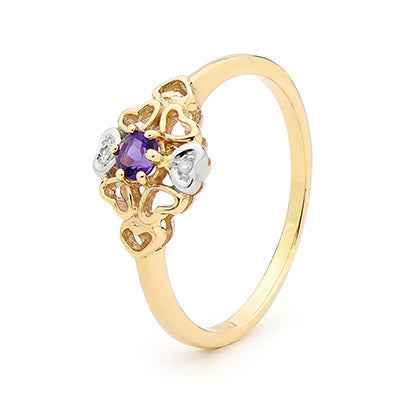 9ct Yellow Gold Amethyst Diamond Ring