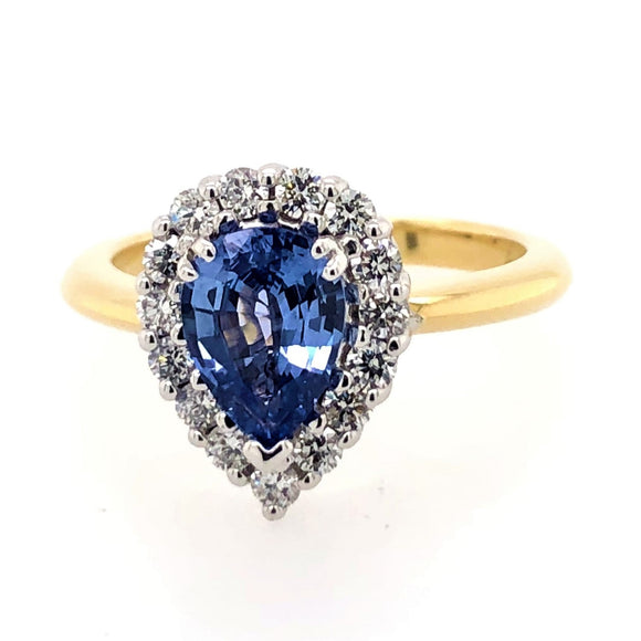 Pear Cut Natural Ceylon Sapphire and Diamonds