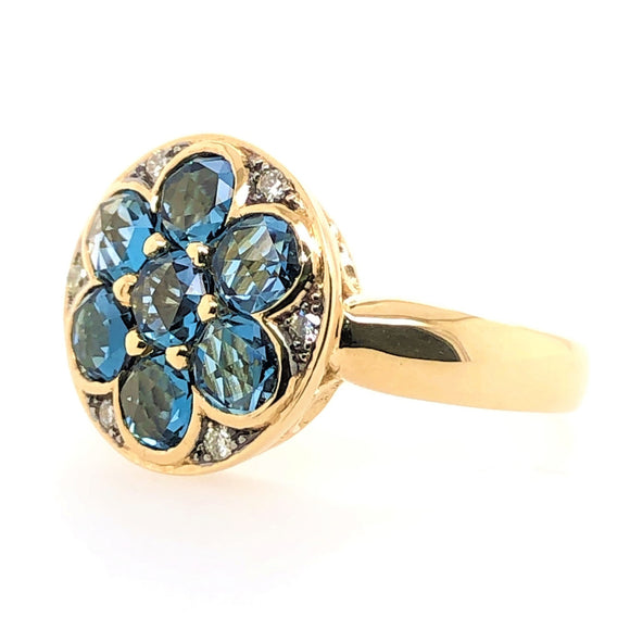 9CT Yellow Gold 7 London Blue Topaz and Diamonds
