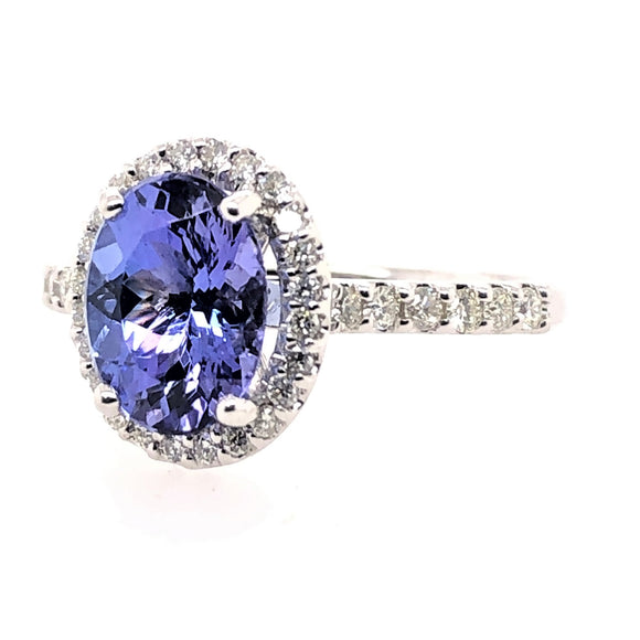 9ct White Gold Tanzanite and Diamonds