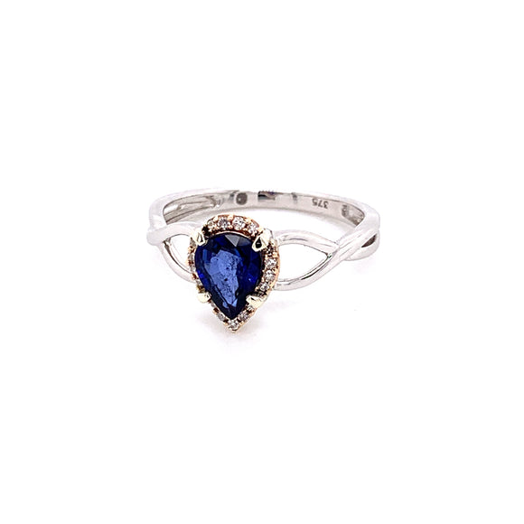 9CT WHITE AND ROSE GOLD PEAR CUT 1.04CT SAPPHIRE RING .20CT DIAMONDS