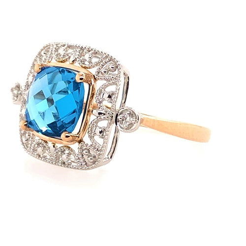 9ct White and Rose Gold Ring Cushion Cut London Blue Topaz and Diamonds